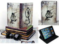 For iPad Mini 1 2 3 Alice In Wonderland Classic Vintage Book Style Case Cover