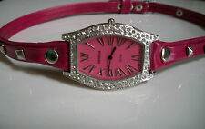 Pink Wrap Around Watch with Bling Sparkly Rhinestones Crystals