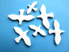 mosaic bird shape tiles 6 white ceramic doves seagulls birds