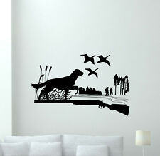 Hunting Dog Wall Decal Ducks Gun Hunters Vinyl Sticker Home Bedroom Decor 175hor