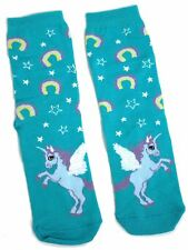 LADIES GREEN UNICORN & RAINBOWS SOCKS ONE SIZE
