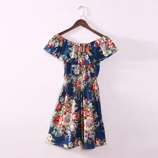 Women Sexy Floral Printed Evening Party Shoulder Off Cocktail Short Mini Dress L