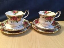 Royal Albert Old Country Roses 1962 Pair Of Trios 1st Quality