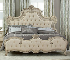 ROMANTIC FRENCH PROVINCIAL STYLE ANTIQUE WHITE QUEEN BED BEDROOM FURNITURE