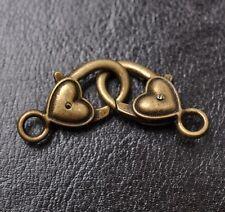 10pcs tibetan silver Small Heart lobster clasp 25X14MM JK0421