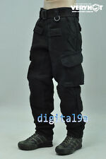 "*1/6 Scale Black combat/fight trousers Pants For 12"" Action Figure without other"