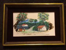 Framed Signed Wall Art Multi Media Painting Print Feather Houses Landscape Well