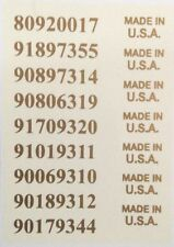 Guitar Waterslida Decals Serial numbers