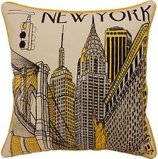 "NEW YORK ICONS CITY SCENE YELLOW 100% COTTON CUSHION COVER 18""-45CM"