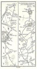 Antique map, Roads from Roscommon to Portumna (2), Longford to Granard, ..