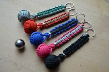 Paracord 1'' Steel Monkeys Fist Lanyard Keyring, Survival (Choose your colour) S