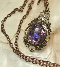 Purple Amethyst Dragons Egg Glass Opal Antiqued Gold Victorian Copper Necklace