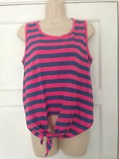 MISS FIORI SIZE 10 HOT PINK/BLUE TIE FRONT T-SHIRT T2
