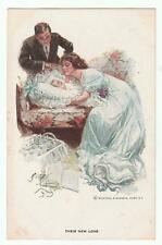 "Harrison Fisher Signed Postcard Glamorous Lady ""Their New Love"" R&N 191"