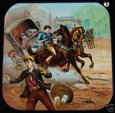 Glass Magic Lantern Slide VICTORIAN DISASTERS - COACH AND HORSES C1890