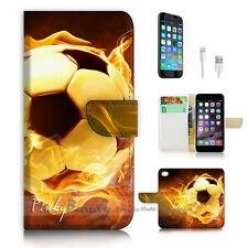 iPhone 7 (4.7') Flip Wallet Case Cover P2996 Football Flame
