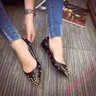 Womens New Gothic Rivet Pointy Toe Loafers Shoes Studs Ballet Flats Casual Shoes
