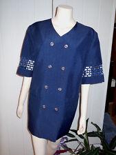 Damen Edles Kostüm Blazer und Rock Spitze dunkelblau Gr. 46 XL