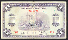 French West Africa 1942 P. 32 1000 Francs Extremely Scarce Note