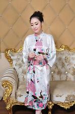 Womens Long Peacock Bride Kimono Robe satin Night dress Gown Pajamas Sleepwear