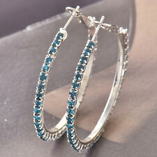 46*3mm 9K White Gold Filled Around sapphire crystal Women's Hoop Earrings F4518