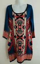 New FLYING TOMATO Boho Aztec Tribal Print Bodycon Mini Sweater Tunic Dress LARGE