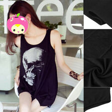 Skull Print Sleeveless Dress Top Tee T-Shirt Vest UK Gothic Punk Black Goth SY