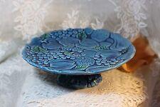 Inarco Mood Indigo-Blue Porcelain Footed Cake Plate Vintage *RARE*