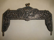 GREAT ANTIQUE VICTORIAN PURSE FRAME 800 SILVER FIGURES CHERUBS CHARIOT DRAGONS