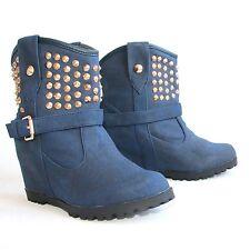 Damen Stiefeletten 38 Blau Versteckter Keilabsatz Damenschuhe Boots Stiefel H197