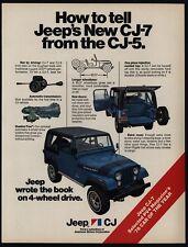 1976 JEEP CJ-7 4X4 SUV 4 Wheel Drive Blue JEEP - Wrote The Book - VINTAGE AD