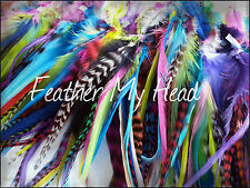 25 Feather Hair Extensions Wide Feathers With Fluff Variety Color Pack So Cute