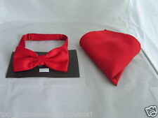 TOP's Deal  RED Polyester Pre-tied Bow tie and Hankie Se t P&P Via 1st Class !!