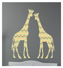 2 Giraffes Chevron Pattern Wall Decals Sticker Nursery Decor Art Mural