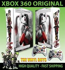 XBOX 360 VIEUX FORME AUTOCOLLANT HARLEY QUINN ARKHAM CITY BATMAN SKIN & 2 PAD