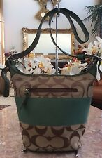 Coach Rugby Signature Green Stripe Leather Bucket Cross-body Duffle Bag F13362