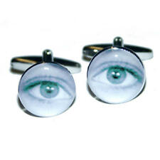 Blue Eye Photograph Cufflinks With Gift Pouch Human Eyes Eyelashes Pupil New