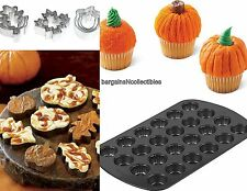 NEW WILTON MINI PUMPKIN CUPCAKE MUFFIN CAKE PAN & 9 PC AUTUMN COOKIE CUTTER SET
