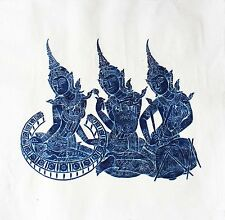 "Thai Temple Rubbing - Dark Blue - Three Classical Musicians - 24"" x 24"" - 2409DB"
