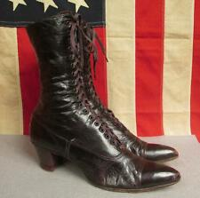 "Vintage 1900's Womens Brown Leather Victorian Boots Antique 10 1/4"" Length Nice!"