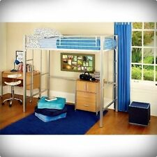 LOFT TWIN BUNK BED METAL DESK KIDS BEDROOM FURNITURE STORAG SIDE LADDERS SILVER