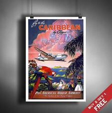 A3 Large CARIBBEAN ISLANDS POSTER * Vintage Retro Wall Art Deco Print Picture