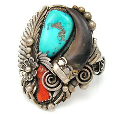 Navajo D K LISTER Sterling Silver Turquoise Coral Badger Claw Cuff Bracelet  | G