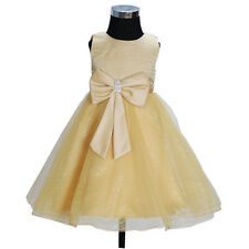 New Gold Flower Girl Party Bridesmaid Wedding Pageant Dress 8-9 Years