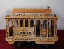 Vintage CTC Powell & Hyde wood San Francisco Cable Car music box metal accents