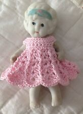 Crochet Dress for 4 Inch Frozen Charlotte Bisque Flapper Dollhouse Doll Pink