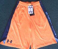 NWT Under Armour Boys L Light Orange/Dark Gray/Light Blue Loose Fit Shorts YLG