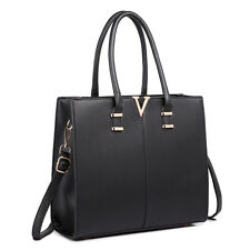 Women Structure Faux Leather Shoulder Handbag Tote Bag Satchel Plain Black
