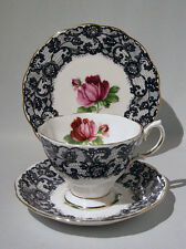 Rare Royal Albert SENORITA Cup Saucer Plate TRIO Set BLACK LACE & ROSE c1950s
