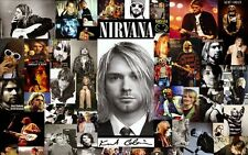 Nirvana Kurt Cobain Guitar Show Fabric Art Cloth Poster 21inch x 13inch Decor 03